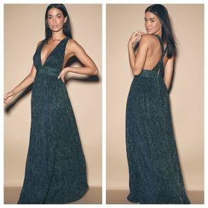 Lulu's Looking Radiant Blue & Green Metallic Dress
